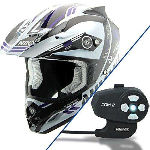 Nikko N719 WhiteBlue Motocross Helmet with Hawk COM-2 Bluetooth Motorcycle Hea - 2X-Large w COM-2 Intercom