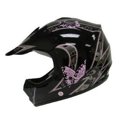TMS Youth Kids Pink Butterfly Dirtbike Atv Motocross Helmet Mx Small