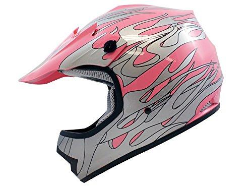 TMS Youth Kids Pink Flame Motocross Helmet Mx Atv Dirtbike Dot Large