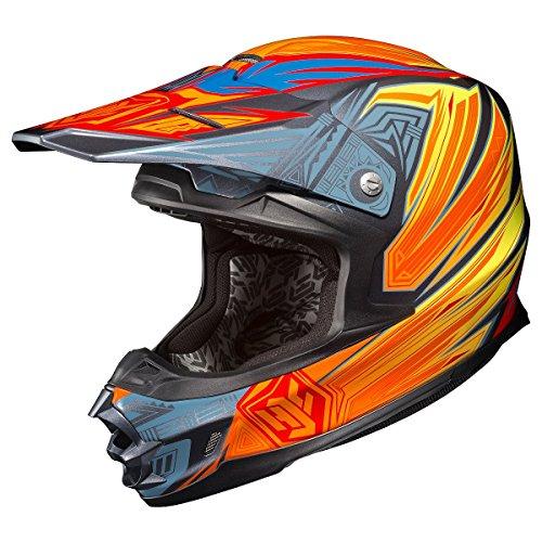 HJC FG-X Legendary Lucha GreyOrangeYellow SnowmobileMotocross Helmet - Large