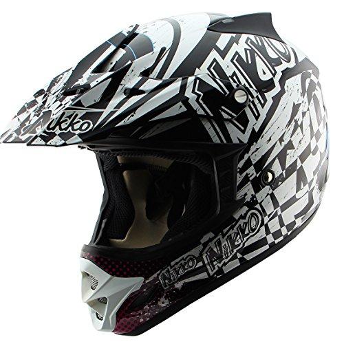 Nikko N719 HyperFreak Multicolor White Motocross Helmet - Large