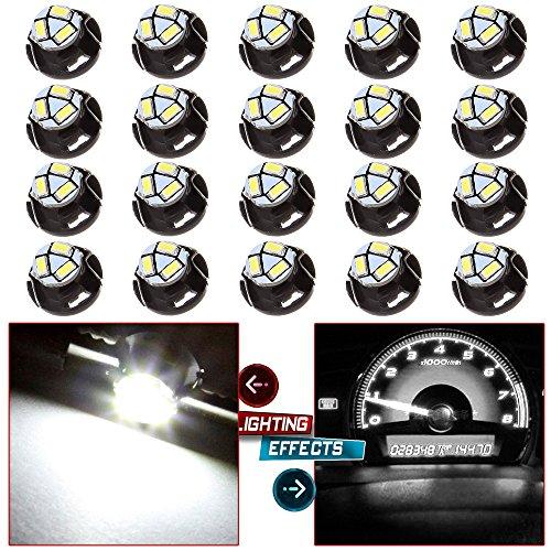 CCIYU 20 Pack White T5 T47 Neo Wedge 12mm 3 SMD LED AC Climate Control Light Bulbs 12V For 2006-2009 Mitsubishi Raider etc