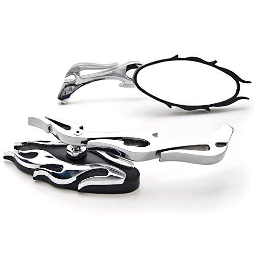Krator Flame Rear View Mirrors Chrome Pair wAdapters For Yamaha Raider S XV 1900 XV1900