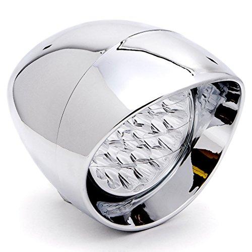 Krator 7 Chrome LED Headlight Cruiser Daytime Running and Low Beam for Kawasaki Vulcan Classic Custom 900