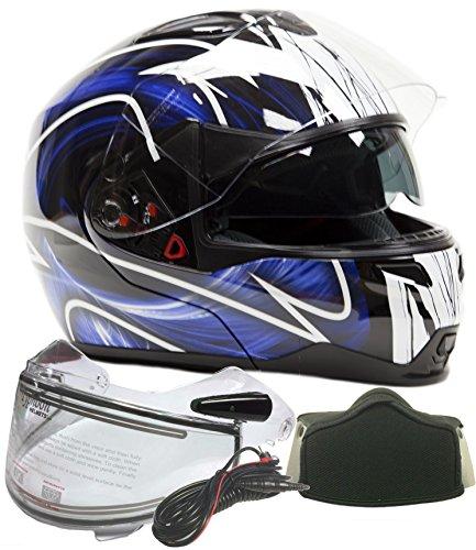 Modular Dual Visor Snowmobile Helmet w Electric Heated Shield - Black  Blue  XXL
