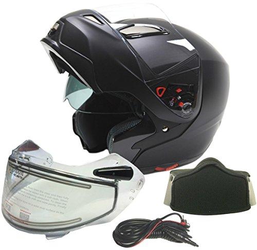 Modular Dual Visor Snowmobile Helmet w Electric Heated Shield - Matte Black  Large