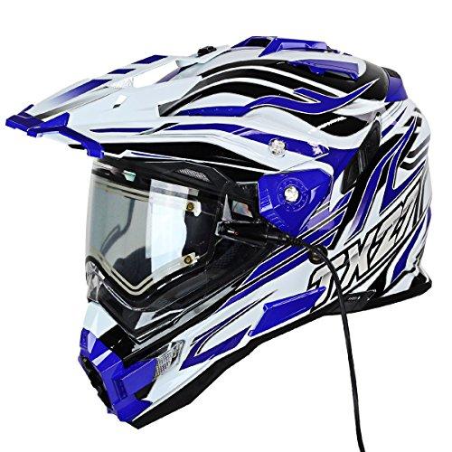 Snow Master TX-27 White Blue DS Snowmobile Helmet - Medium