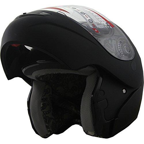 Snowmobile Helmet Modular Flip up Anti Fog Flat Black 306 XL