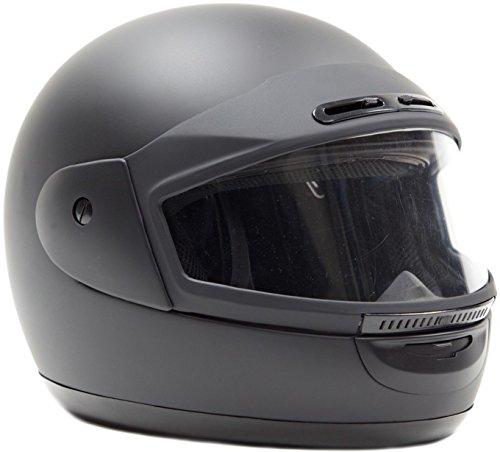 Typhoon Helmets Adult Snowmobile Helmet Mens Womens Full Face Dual Lens Anti Fog - Flat Matte Black  M Medium
