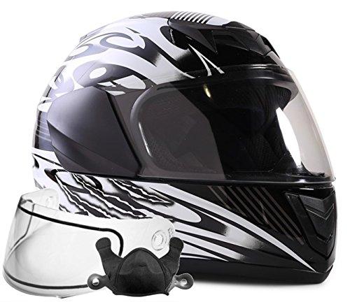 Typhoon Helmets Youth Kids Full Face Snowmobile Helmet DOT Dual Lens Snow Boys Girls - Black  Large