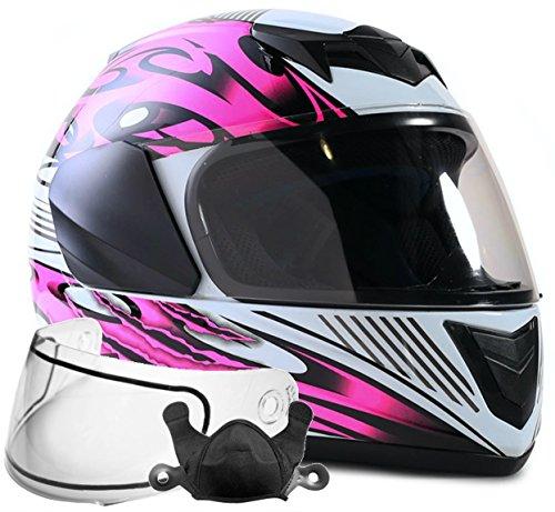 Typhoon Helmets Youth Kids Full Face Snowmobile Helmet DOT Dual Lens Snow Boys Girls - Pink  Large