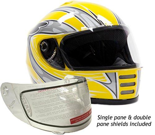 Typhoon Helmets Youth Kids Full Face Snowmobile Helmet DOT Dual Lens Snow Boys Girls - Yellow  Medium