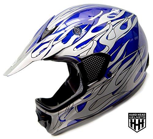 SmartDealsNow - HHH DOT Youth Kids Helmet for Dirtbike ATV Motocross MX Offroad Motorcyle Street bike BLUE-BLACK Large