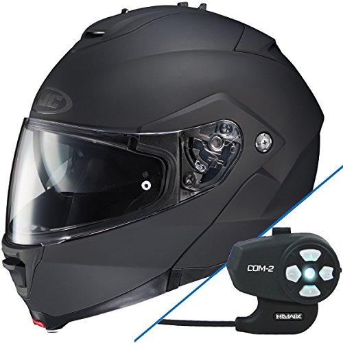 HJC IS-Max II Matte Black Modular Helmet with Hawk Com-2 Bluetooth Helmet - Large w COM-2 Intercom