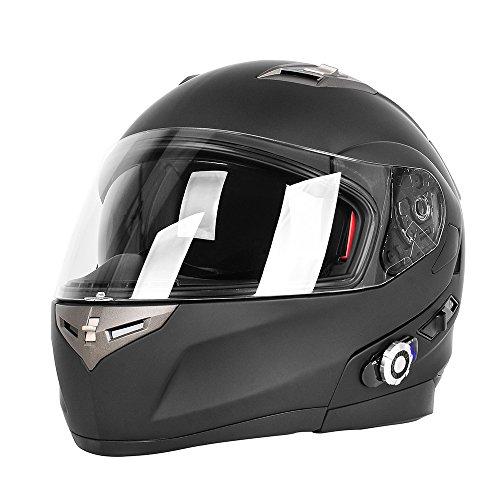 Motorcycle Bluetooth HelmetsFreedConn Flip up Dual Visors Full Face HelmetBuilt-in Integrated Intercom Communication SystemRange 500M2-3Riders PairingFM radioWaterproofLMatte Black