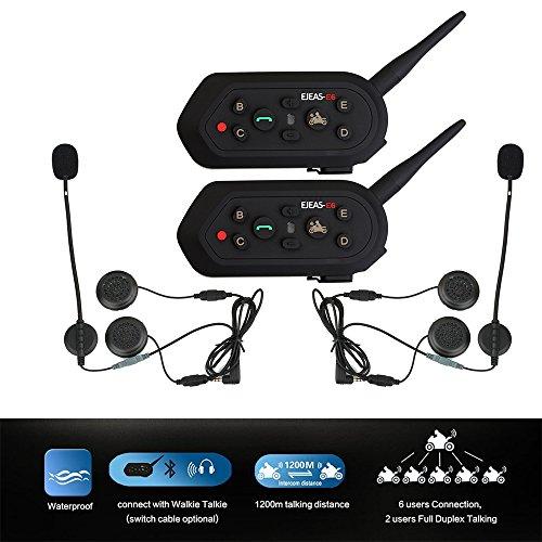 Rayhome 2-Pack E6 BT 1200M Bluetooth Motorcycle Helmet Intercom Interphone Headset for MP3 GPS FM Radio Walkie-Talkie Water Resistant Waterproof Motorbike intercom Headphone System 6 riders