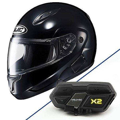 HJC CL-MAX II Glossy Black Modular Helmet with Hawk X2 Black Bluetooth Headset - 4X-Large with X2 Bluetooth