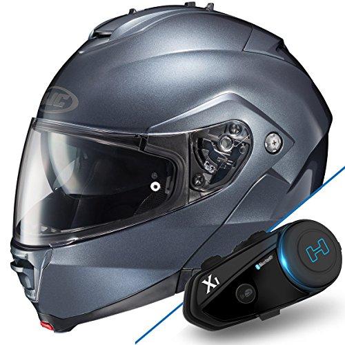 HJC IS-Max II Anthracite Modular Helmet with Hawk X1 Black Bluetooth - Small w X1 Bluetooth