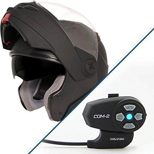 Hawk ST-1198 Transition 2-in-1 Flat Black Modular Helmet with Hawk COM-2 Blueto - Large w COM-2 Intercom