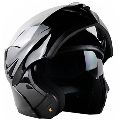 ILM 10 Colors Motorcycle Flip up Modular Helmet DOT L Gloss Black