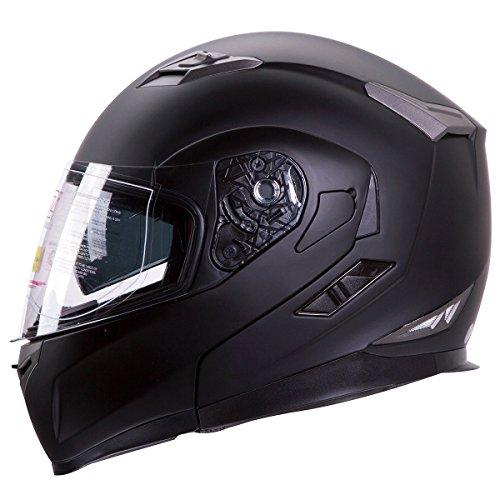 Motorcycle  Snowmobile Matte Black Dual Visor Modular Helmet DOT Size Large