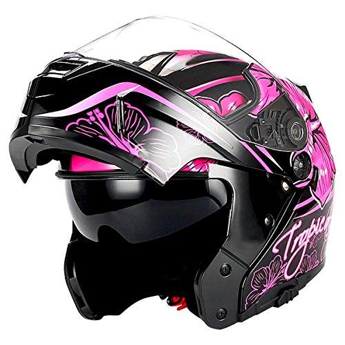 1Storm Motorcycle Modular Full Face Helmet Flip up Dual VisorSun Shield Lady Purple Flower Pink