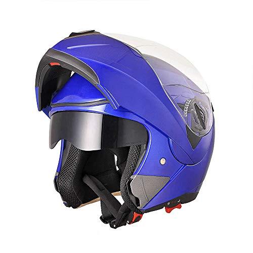 AHR Full Face Flip up Modular Motorcycle Helmet DOT Approved Dual Visor Motocross Blue L