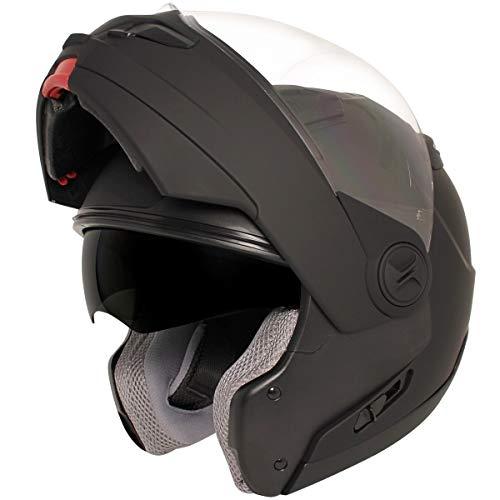 Hawk ST 1198 Transition 2 in 1 Flat Black Modular Motorcycle Helmet - X-Large