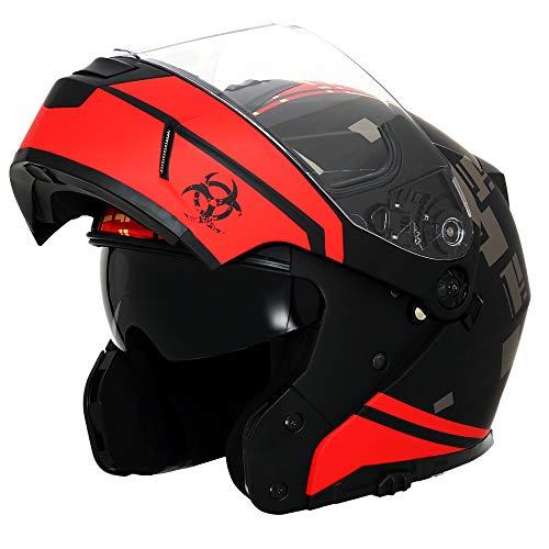 Triangle Motorcycle Helmets Modular Dual Visor Flip Up X-Large Matte BlackRed