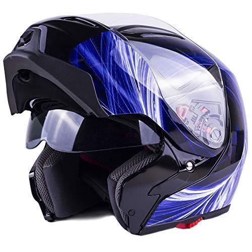 Typhoon G339 Modular Motorcycle Helmet DOT Dual Visor Full Face Flip-up - Blue XXL