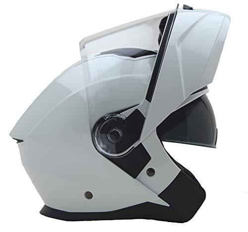 Vega Helmets Unisex-Adult Modular Motorcycle Snowmobile Helmet 30 Larger Shield and Sunshield Caldera Pearl White X-Large