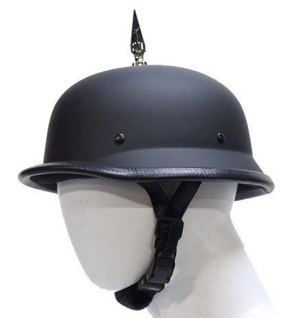 1 Spike German Flat Black Novelty Motorcycle Helmet Size XL X-Large