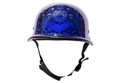 Blue Skull Graveyard German Novelty Motorcycle Helmet Size M MD Medium