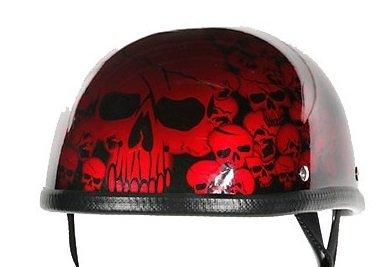 Burgundy Boneyard Novelty Motorcycle Helmet with Skulls Size S SM Small
