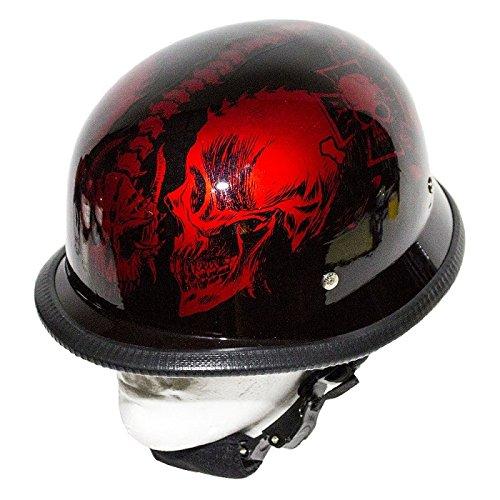 Burgundy Novelty Motorcycle Helmet Horned Skeletons Size L LG Large