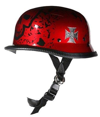German Burgundy Boneyard Novelty Motorcycle Helmet with Chopper Cross Size XL X-Large