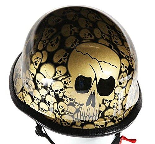 Gold Skull Graveyard German Novelty Motorcycle Helmet Size XL X-Large