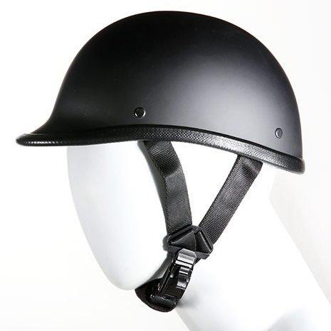 Jockey Style Flat Black Novelty Motorcycle Helmet Size XL X-Large