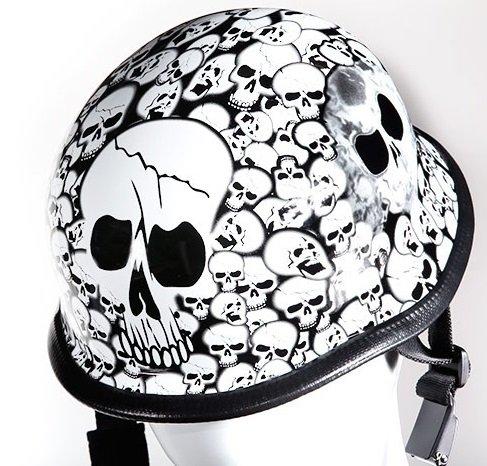White Skull Graveyard German Novelty Motorcycle Helmet Size L LG Large