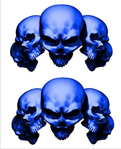 2 sticker set Blue 5 Skull 7 in long x 45 in tall Motorcycle Sticker Honda CBR Kawasaki Ninja Yamaha YZF Harley Davidson Decal Set