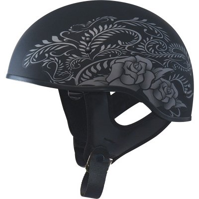 GMAX GM65 Naked Rose Adult Touring Motorcycle Helmet - Flat BlackSilver  Small
