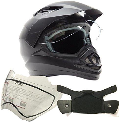 Typhoon Helmets Dual Sport Snocross Snowmobile Helmet - Matte Black - Large