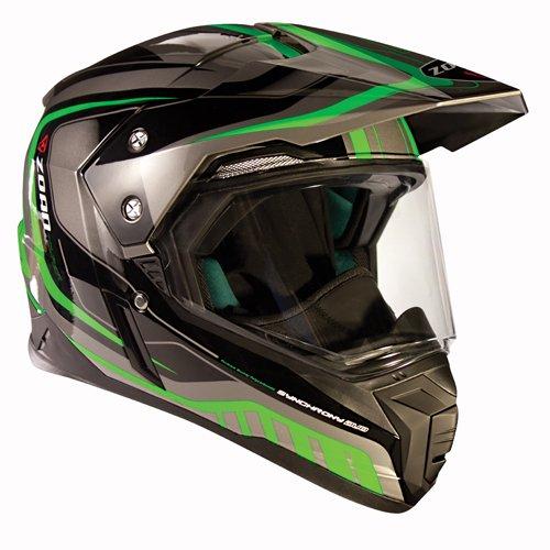 Zoan Synchrony Tourer Green Electric Shield Dual Sport Snowmobile Helmet Medium