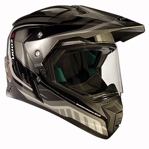 Zoan Synchrony Tourer Silver Double Lens Dual Sport Snowmobile Helmet Medium
