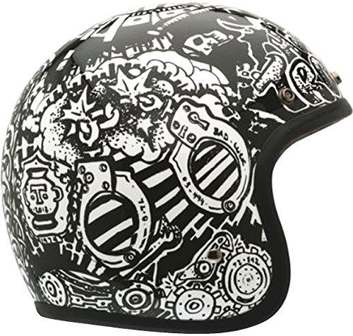 Bell RSD Trouble Custom 500 Harley Cruiser Motorcycle Helmet - BlackWhiteSmall
