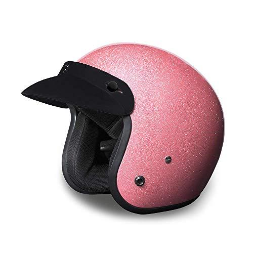 Daytona Helmets Motorcycle Open Face Helmet Cruiser- Pink Metal Flake 100 DOT Approved