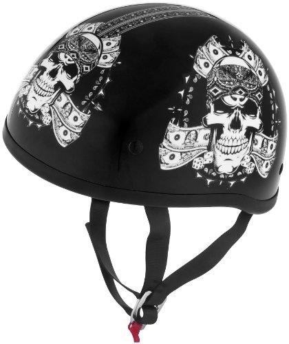 Skid Lid Helmets Original Thug Skull Helmet  Helmet Type Half Helmets Helmet Category Street Distinct Name Thug Skull Primary Color Black Size Lg Gender MensUnisex 646971