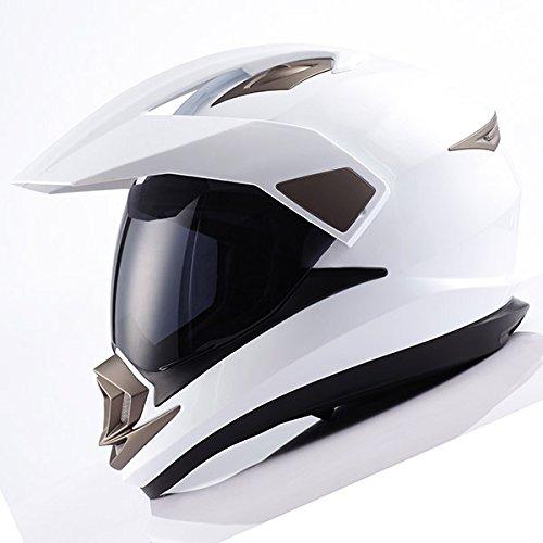 Dual Sport Motorcycle Motocross Off Road Full Face Helmet Glossy WhiteSize L