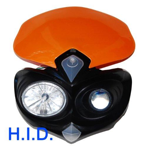 HID Head Light Ktm Orange Dual Sport Dirt Bike Custom Motorcycle Xenon MXC EXC