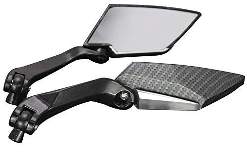 MotorToGo Black Carbon Mini Rearview Mirrors for 2004 Kawasaki Z1000